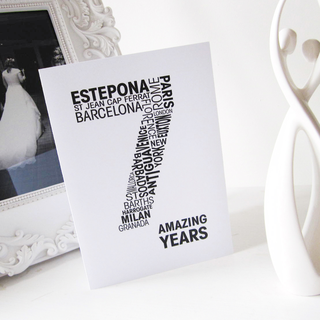 Wedding Gifts For 7th Anniversary : 7th personalised wedding anniversary card
