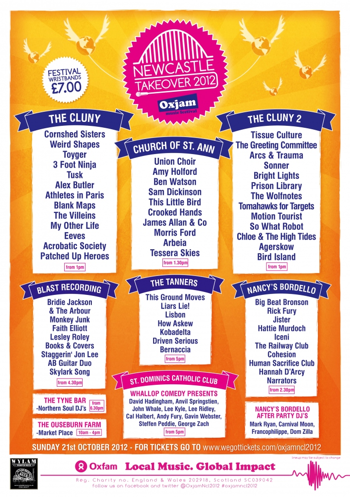 Oxjam Music Festival Newcastle Takeover, Sunday 21st October