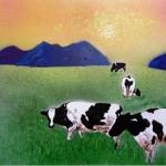 Cow in summer mist