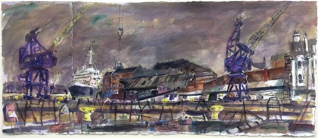 Richard Hobson: After closure tyne dock engineering, watercolour