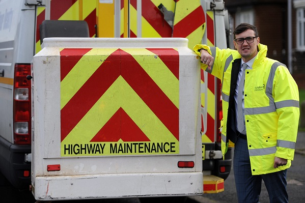 Dated: 08/11/2016. Sunderland City Council Cabinet Member for City Services Cllr Michael Mordey pictured with a highway maintenance van in Hetton Le-Hole. Fao Jeremy Wicking, Sunderland Council #NorthNewsAndPictures/2daymedia